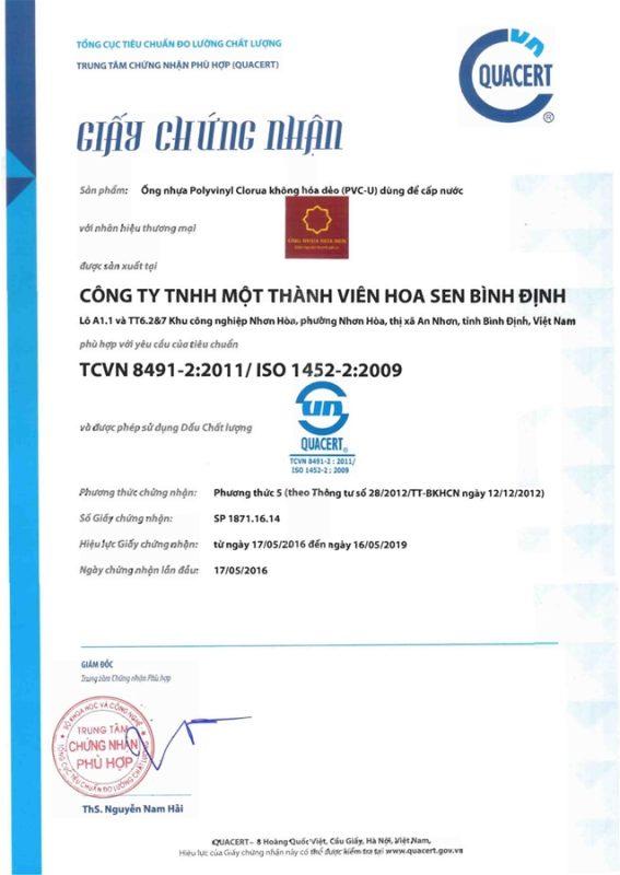 Giay Chung Nhan Hop Chuan Ong Nhua Nm Binh Dinh